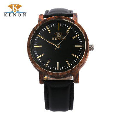K KENON Male Quartz Leather Band Watch