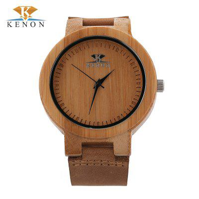 K KENON Male Quartz Wooden Case Watch