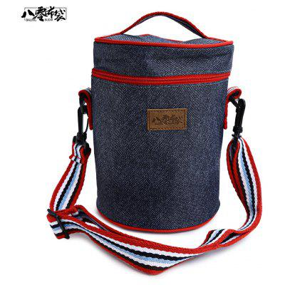 Balingbudai Casual Oxford Thermal Insulation Cylindrical Picnic Lunch Bag