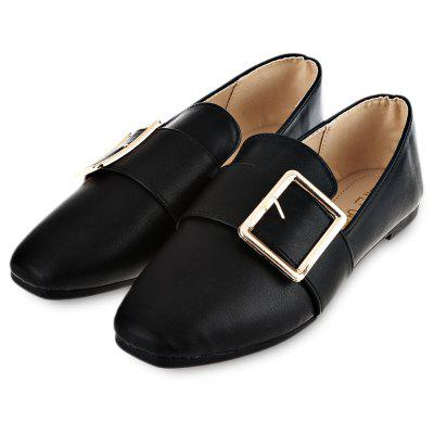 Square Buckle Embellishment Ladies Flat Shoes