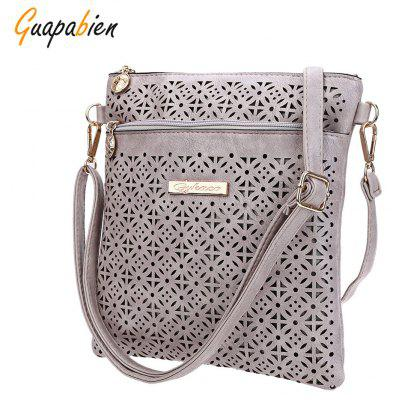 Guapabien Lady Ethnic Hollow Out Letter Embelllishment Flower Print External Dual Purposes Shoulder Messenger Bag