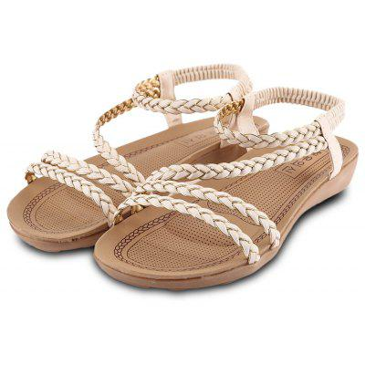 Weaving Strap Design Ladies Slip On Sandals