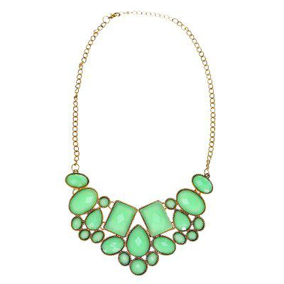 Trendy Gold Plated Green Stones Patterns Pendant Chain Necklace Women Jewelry