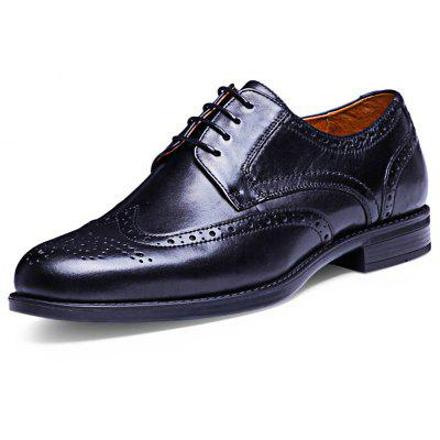 DESAI Hollow Carved Design Male Lace Up Leather Shoes