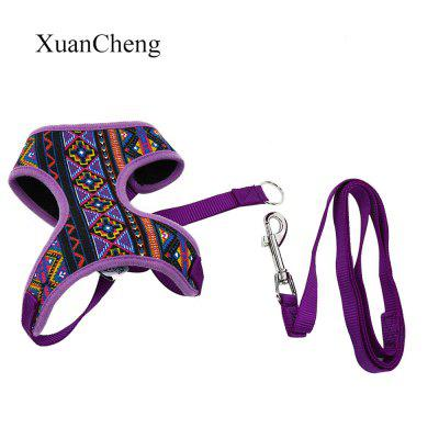 XuanCheng Adjustable Dog Ethnic Style Vest Mesh Cloth Pet Harness Leash Strap