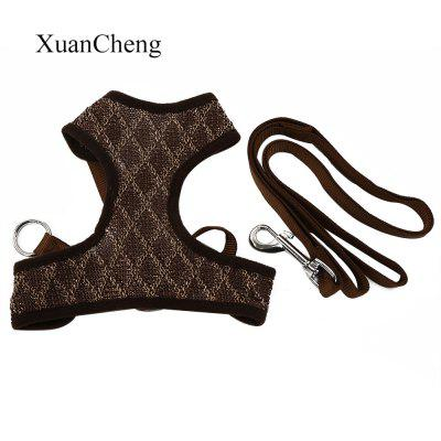 XuanCheng Adjustable Dog Plaid Style Vest Mesh Cloth Pet Harness Leash Strap