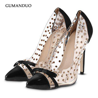 GUMANDUO Rivet Bowknot Ladies Thin High Heel Shoes