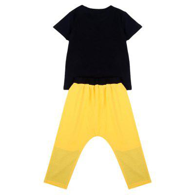 QianQuHui Boys Color Blocking Clothes Suit T-shirt Long PantsBoys Clothing Sets<br>QianQuHui Boys Color Blocking Clothes Suit T-shirt Long Pants<br><br>Closure Type: Pullover<br>Collar: Round Neck<br>Color: Black,Yellow<br>Fabric Type: Broadcloth<br>Gender: Boy<br>Material: Cotton<br>Package Contents: 1 x T-shirt, 1 x Pair of Pants<br>Package size (L x W x H): 1.00 x 1.00 x 1.00 cm / 0.39 x 0.39 x 0.39 inches<br>Package weight: 0.1550 kg<br>Pattern Style: Letter<br>Product weight: 0.1310 kg<br>Season: Summer<br>Sleeve Length: Short<br>Style: Fashion<br>Thickness: Thin<br>Weight: 0.1550kg