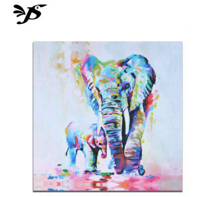 Jingsheng Unframed Canvas Painting Colorful Elephants Pattern Home Decoration