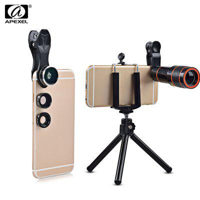 APEXEL APL - HS12XDG3ZJ 5 in 1 External Phone Camera Lens Suit