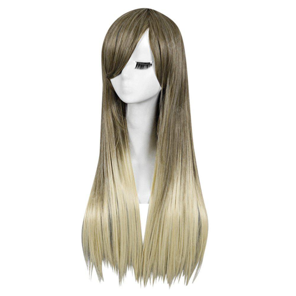 Mulheres 70CM Long Straight Blonde Ombre Wig