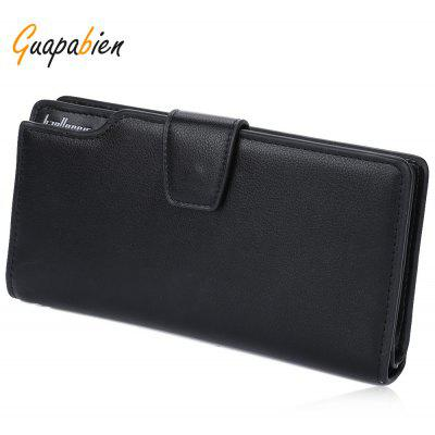 Guapabien Men Hasp Zipper Multi Functional Card Money Photo Vertical Wallet