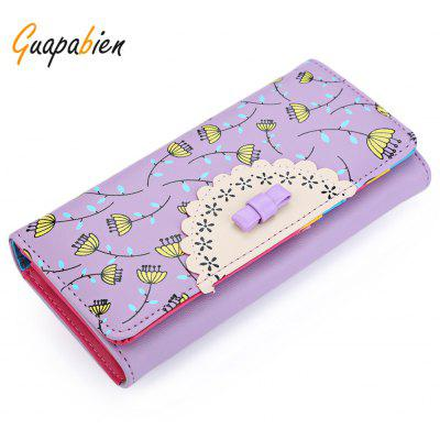 Guapabien Lady Bowknot Floral Hasp Vertical Long Clutch Wallet