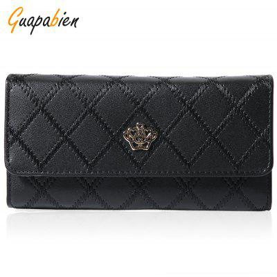 Guapabien Crown Embellishment Plaid Design Ladies Wallet