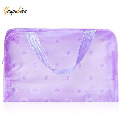 Guapabien Lovely Floral Practical Convenient Waterproof Translucent Bath Wash Bag