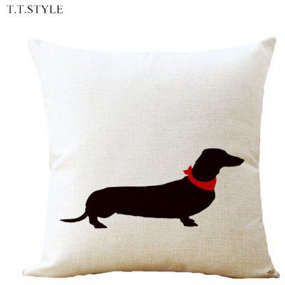 T.T.STYLE Dog Printed Cotton Linen Pillow Cover Home Decoration