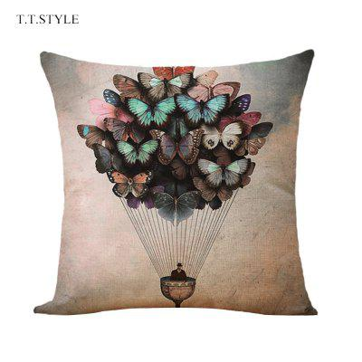 T.T.STYLE Hot-air Balloon Pattern Cotton Linen Pillow Cover Home Decoration