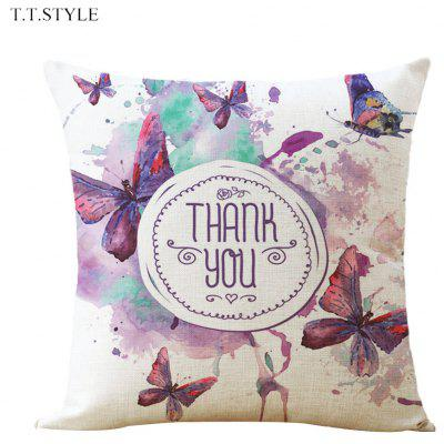 T.T.STYLE Thank You Print Cotton Linen Pillow Cover Home Decoration