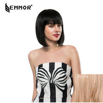 EMMOR Short Straight Bob Human Hair Wigs with Bangs