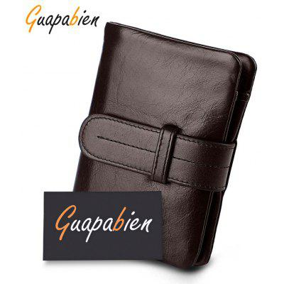 Guapabien Solid Color Belt Head Layer Cowhide Short Wallet