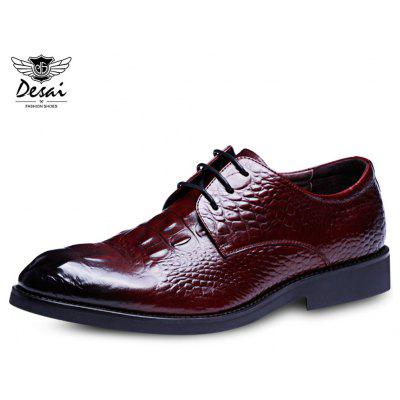 DesAI Crocodile Pattern Gradient Color Leather Male Shoes