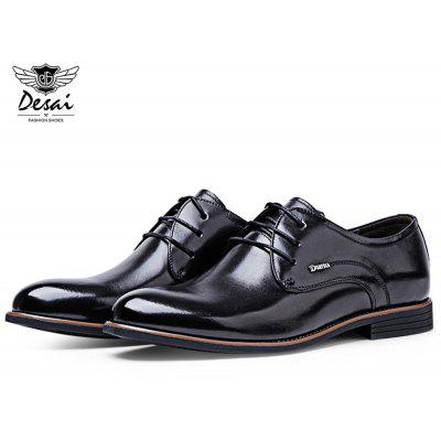 DesAI Wear-resisting Knurling Pointed Toe Chaussures en cuir masculin