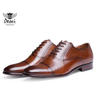 DESAI Casual Genuine Leather Pointed Toe Hidden Lace Up Business Shoes for Men