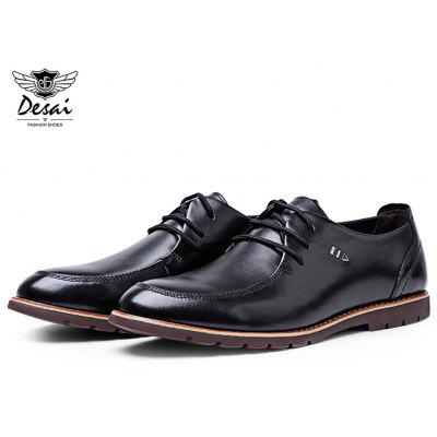 DESAI Casual Round Toe Solid Color Lace Up Leather Shoes for Men