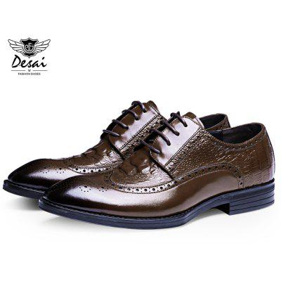 DESAI Business Pointed Toe Lace Up Leather Shoes for Men