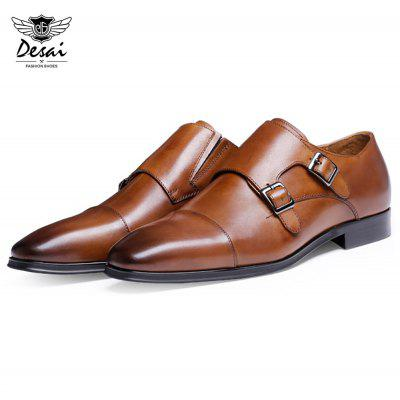 Buy BROWN DESAI Casual Pointed Toe Solid Male Buckle Leather Shoes for $68.14 in GearBest store