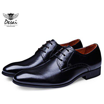 DESAI Pointed Toe Pure Color Leather Casual Shoes
