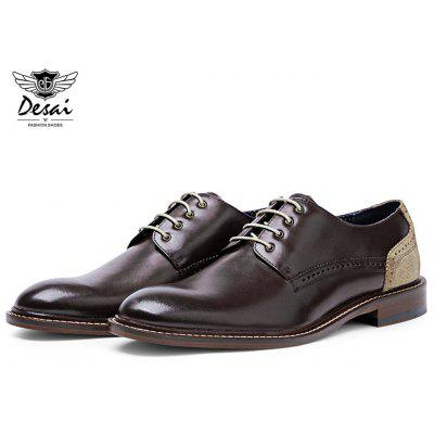 DESAI Pure Color Pointed Toe Male Business Leather Shoes