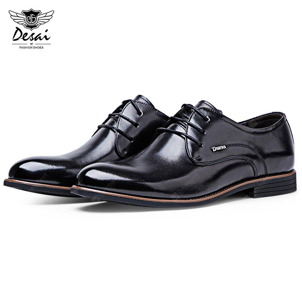 DESAI Wear-resisting Knurling Pointed Toe Masculino Couro Sapatos
