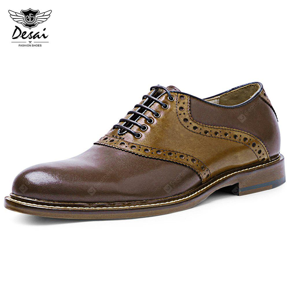 BROWN 42 DESAI Patchwork Design Male Lace Up Leather Shoes