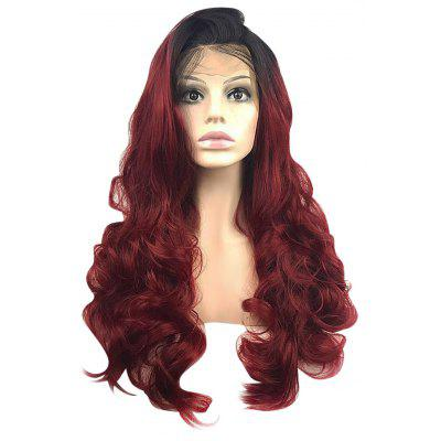 Long Side Part Dark Root Wavy Lace Front Synthetic Wig