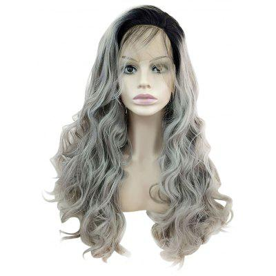 Long Dark Root Wavy Lace Front Synthetic Wig for Women