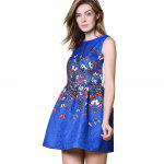 Buy Fashionable Round Collar Sleeveless Butterfly Print A-Line Women Ball Gown Dress S BLUE
