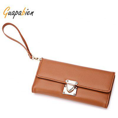 Guapabien PU Leather Pure Color Women Clutch Wallet