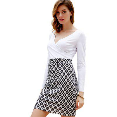 Buy Sexy Plunging Neck Long SLeeve High Waist Wrapped Hip Mid-length Patchwork Color Block Women Bodycon Dress, WHITE AND BLACK, L, Apparel, Women's Clothing, Women's Dresses, Bodycon Dresses for $11.99 in GearBest store