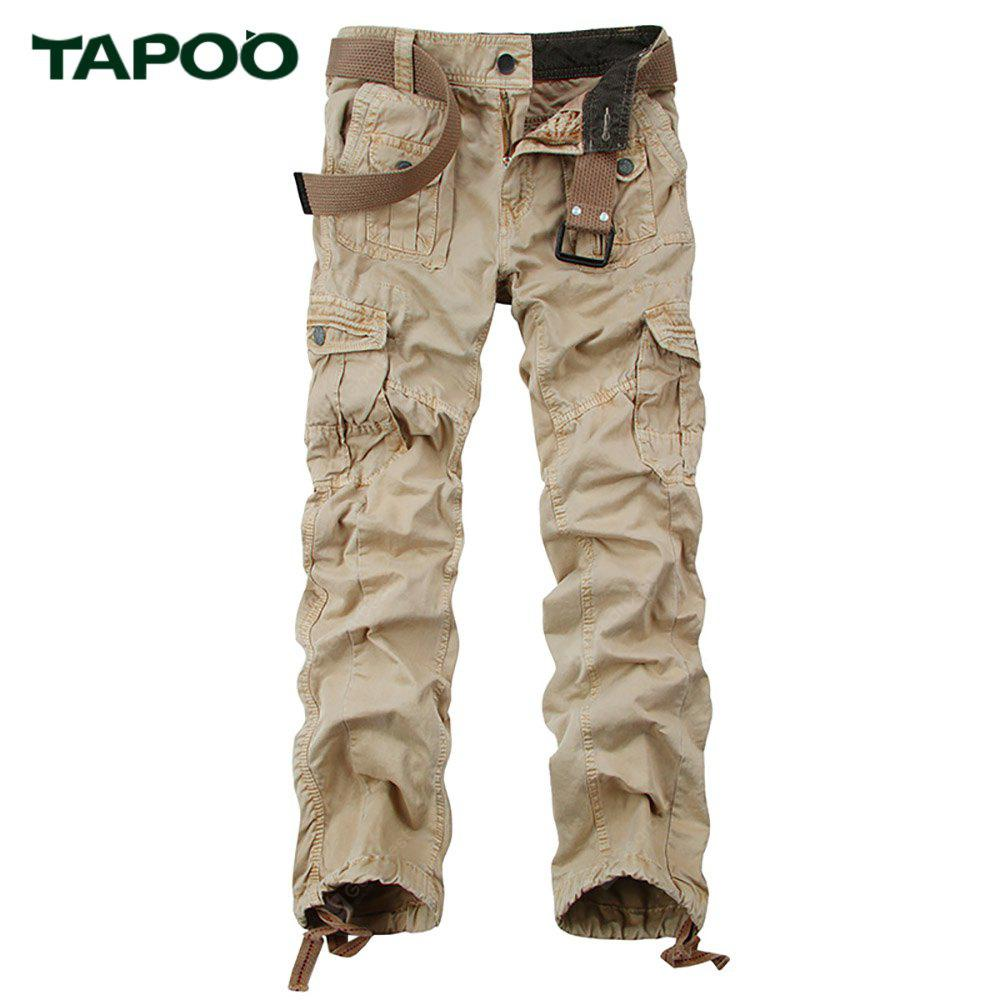 KHAKI Tapoo Casual Pleated Style Ankle Tied Long Full Pants for Men