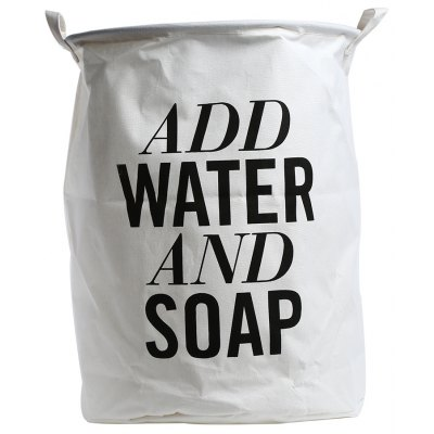 ADD WATER AND SOAP Printed Cotton Linen Laundry Hamper