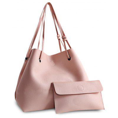 Women Fashion Simple PU Bucket Bag Handbag