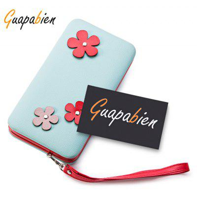 Guapabien Cute Flower Appliques Clutch Wallet Phone Pocket