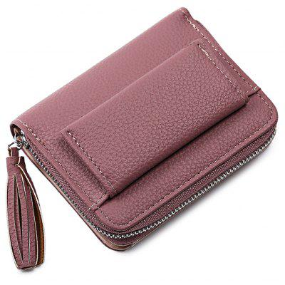 Fashion Solid Color Short Wallet for Women with Tassel