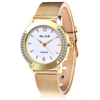 Female Steel Net Band Quartz Watch