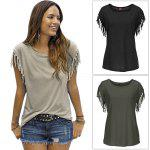 Women Round Collar Short Sleeve Fringed Pure Color T-Shirt - BLACK