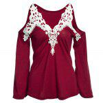 Sexy V-Neck Flare Sleeve Cut Out Lacework Deisgn Spliced Women T-Shirt - ROSSO