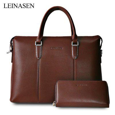 LEINASEN PU Leather Male Waterproof Handbag