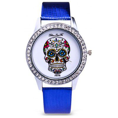 Women Skull Pattern Rhinestone Quartz Watch