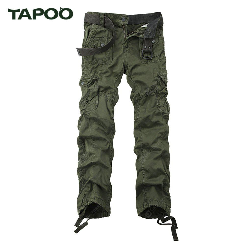 BLACKISH GREEN Tapoo Casual Pleated Style Ankle Tied Long Full Pants for Men